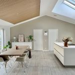 Kitchen and dining room overview with acoustical panels on the ceiling